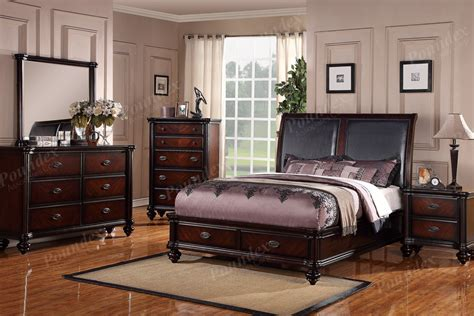 dark wood bedroom set description