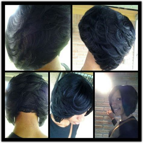 black women feathered bob weave feathered bob short hairstyles pinterest