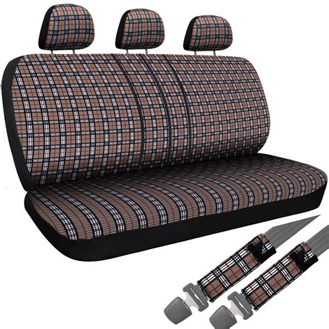 seat cover for bench seat 8pc oxgord brown plaid bench seat covers truck steering wheel seatbelt pads 2a ebay