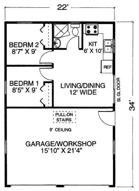 1 story garage apartment floor plans