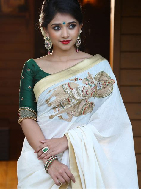 Blouse Designs In Kerala by White Handloom Saree With Krishna Embroidery From Laksyah