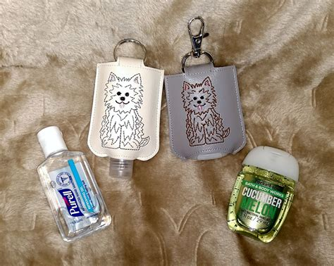 ith fluffy dog sanitizer holder snap tab  hoop machine embroidery