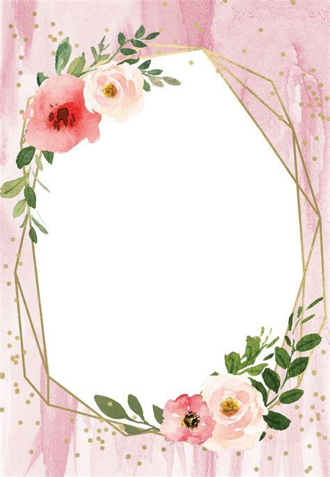 polygonal frame  blush flowers quinceanera invitation template    flower frame