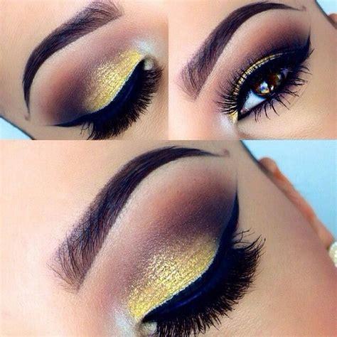 Valege Eye Shadow Brown Yellow smokey brown eyeshadow yellow gold shimmer lid black liner bold lashes makeup