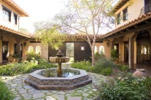 Tiki Torches Backyard Santa Ynez Ranch Courtyard Mediterranean Landscape