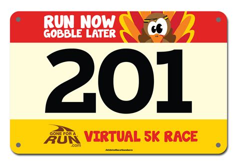 Small Running Numbers Color Race Number Template