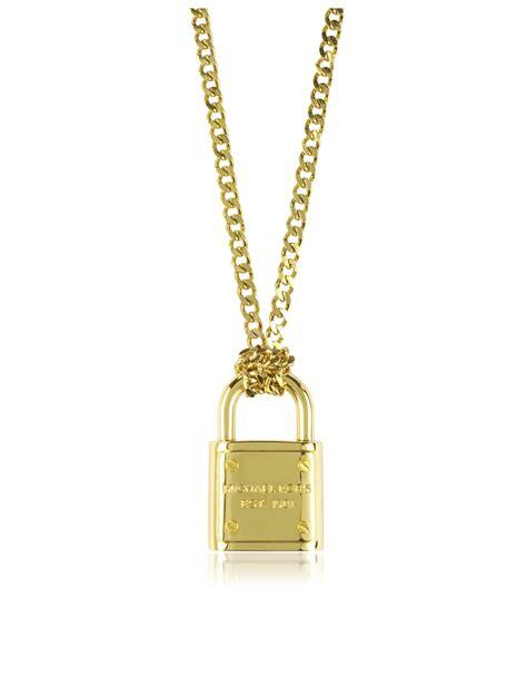 metallic necklace lyst michael kors gold tone metal padlock necklace in