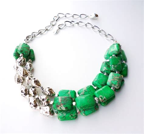 Handmade Gemstone Jewellery - green and silver statement necklace big skies jewellery