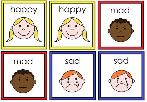 printable feelings flashcards for toddlers feelings and emotions on pinterest facial expressions
