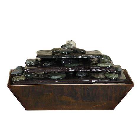 tapering stream copper table fountain metal slate stone