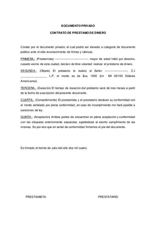 ejemplo de carta de prestamo de dinero contrato privado de pr 233 stamo de dinero