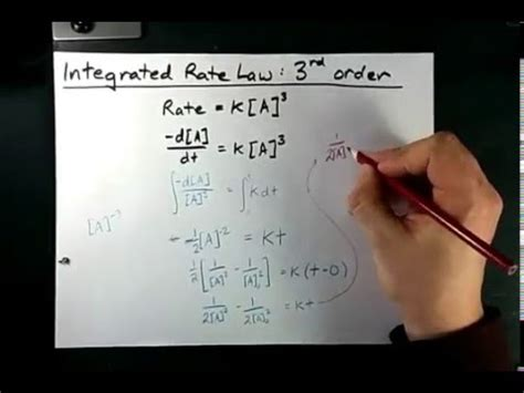 integrated rate law for a third (3rd) order reaction youtube