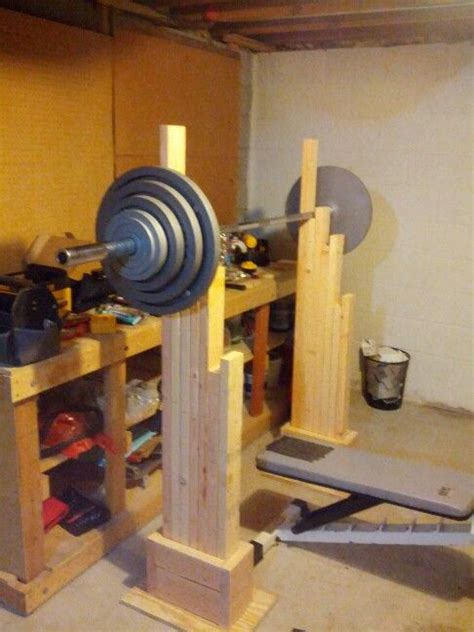 wooden exercise bench my homemade squat and bench rack 50 cost few hours to make