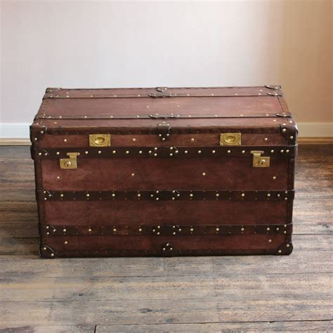 Antique Leather Trunks Uk Antique Leather Luggage Leather Steamer Trunk Coffee Table