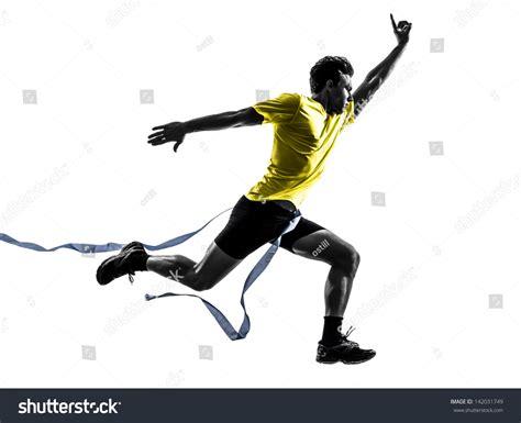 runner line one caucasian sprinter runner stock photo 142031749