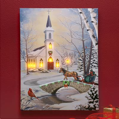 lighted church canvas lighted snowy church wall canvas from collections etc