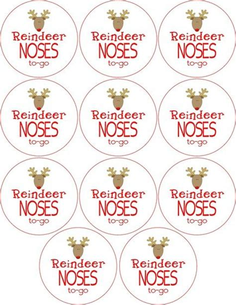 printable reindeer noses labels free reindeer noses to go labels christmas pinterest