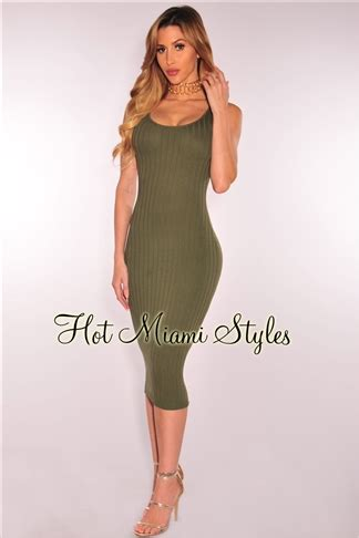 V Neck Sleeveless Knit Midi Dress olive knit ribbed sleeveless midi dress