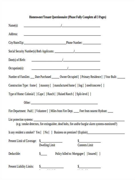 8 Tenant Questionnaire Form Sles Free Sle Exle Format Download Tenant Survey Template