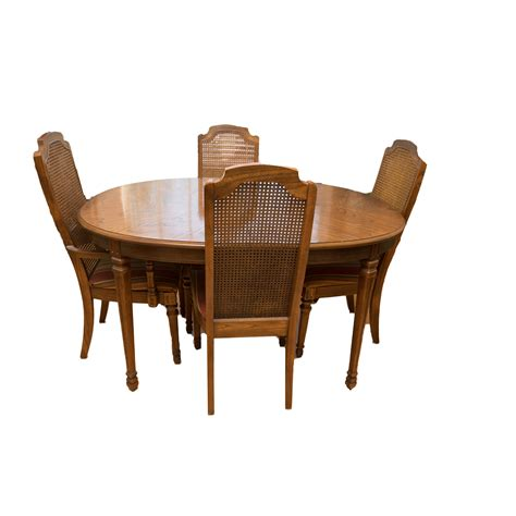 cane back dining room chairs oval dining room table with four cane back chairs ebth