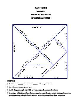Area And Perimeter Of Rectangles Math Tango Area