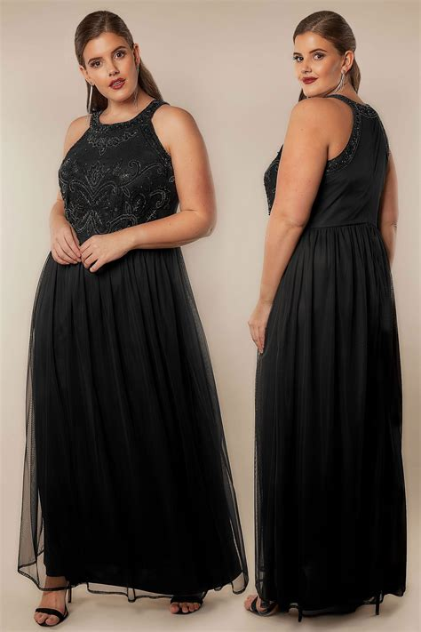 Classa Sling Bag 9014 9887 Black luxe black bead embellished fully lined maxi dress with mesh skirt plus size 16 to 32
