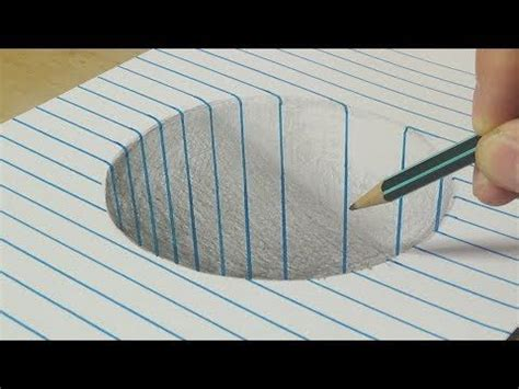 drawing a round hole on line paper trick art with