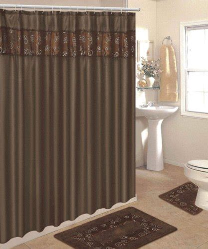 4 Bathroom Rug Set by 4 Bathroom Rug Set 3 Chocolate Ring Bath Rugs With Fabric Shower Curtain And