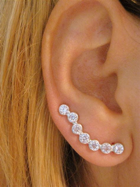 Sterling Silver Ear Sweep Pin Wrap Cuff Earring with clear CZ   PAIR