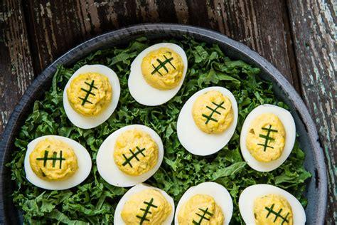 Decorating Eggs football deviled eggs everyday good thinking
