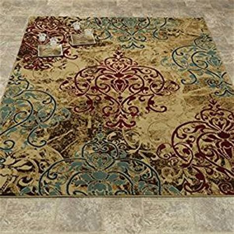 Kitchen Area Rugs 5x7 Collection Abstract Damask
