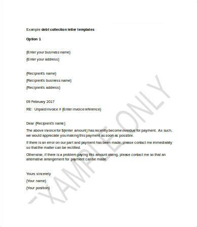 template for debt collection letter collection letter template 7 free word pdf format