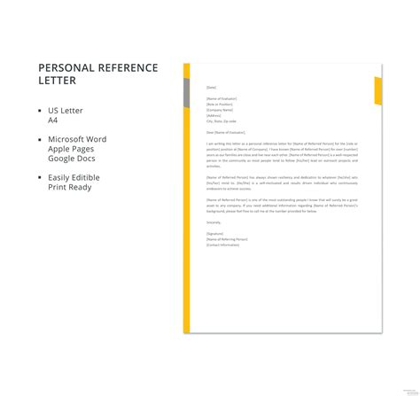 personal reference letter template microsoft word