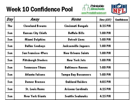 printable nfl schedule week 10 nfl confidence pool week 10 football confidence pool week 10