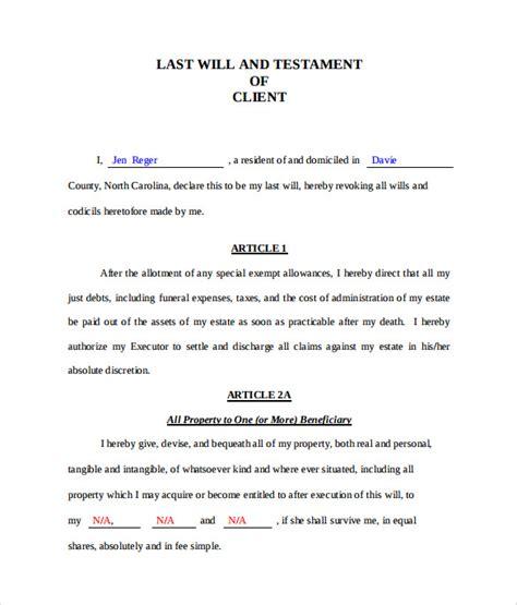 template will and testament last will and testament form 8 free documents