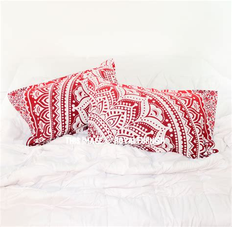red throw pillows for bed decorative red bohemian floral ombre mandala bed pillow