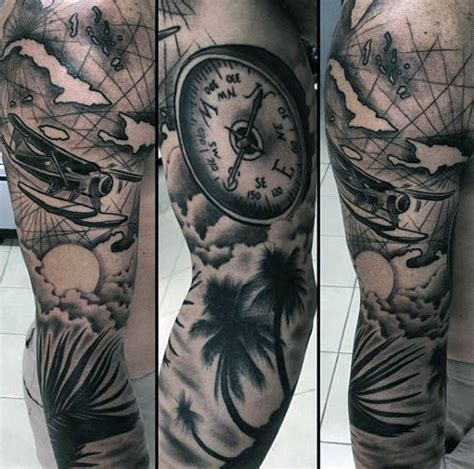 compass tattoo palm incredible black and gray style sleeve tattoo of sea plane