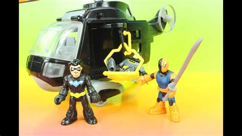 imaginext batman copter  justice league nightwing slade dc superheroes justfun youtube
