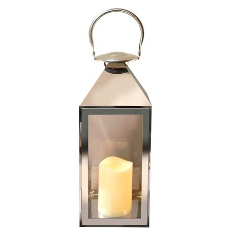 lumabase 15 in chrome metal lantern with led candle 90901