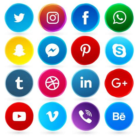 free sosial network icon round social network icons vector free download