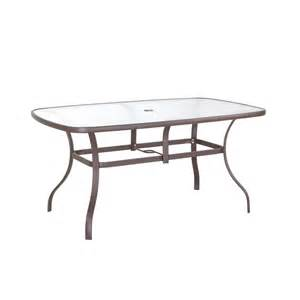 Patio Table Glass Hton Bay Navona 38 In X 60 In Rectangular Glass Top Patio Dining Table Fts00502jp The