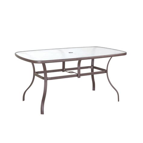 Patio Glass Table Hton Bay Navona 38 In X 60 In Rectangular Glass Top Patio Dining Table Fts00502jp The