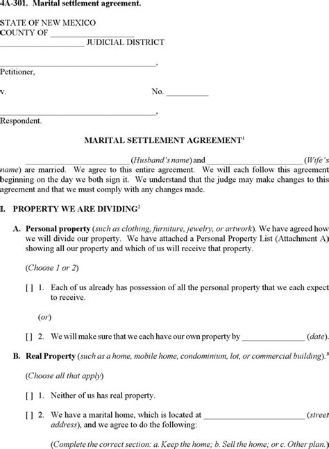 download new mexico marital settlement agreement form for