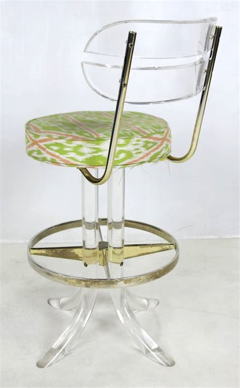 lucite bar stools for sale pair of lucite and brass counter stools by hill mfg for