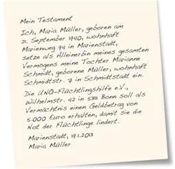 Testament Schreiben Handschriftlich Muster Vererben Sie Ihr Verm 246 An Die Uno Fl 252 Chtlingshilfe Das Heerlager Der Heiligen