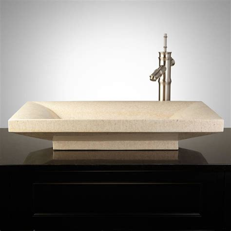 Modern Rectangular Bathroom Sinks Curved Rectangular Polished Marble Platform Vessel Sink