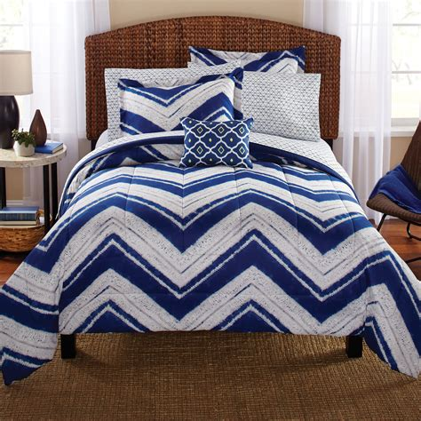 mainstays comforter mainstays mosby chevron bed in a bag complete bedding set