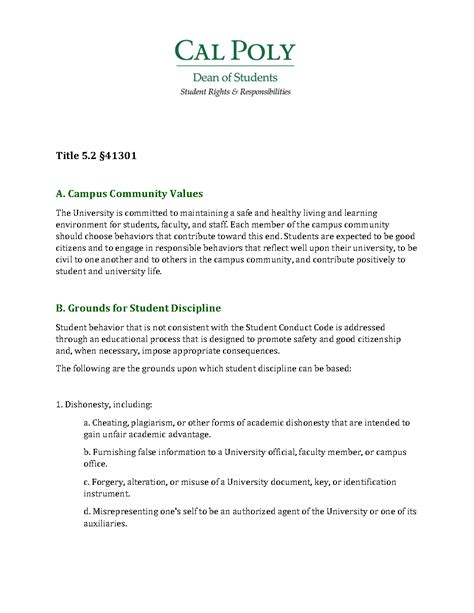 Kwara Poly Acceptance Letter Standards For Student Conduct Office Of Student Rights Responsibilities Cal Poly San Luis