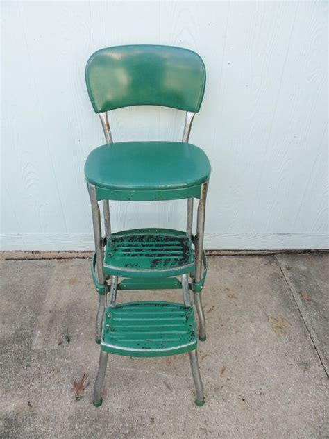 Retro Metal Kitchen Stools vintage kitchen stool chrome green metal retro side table