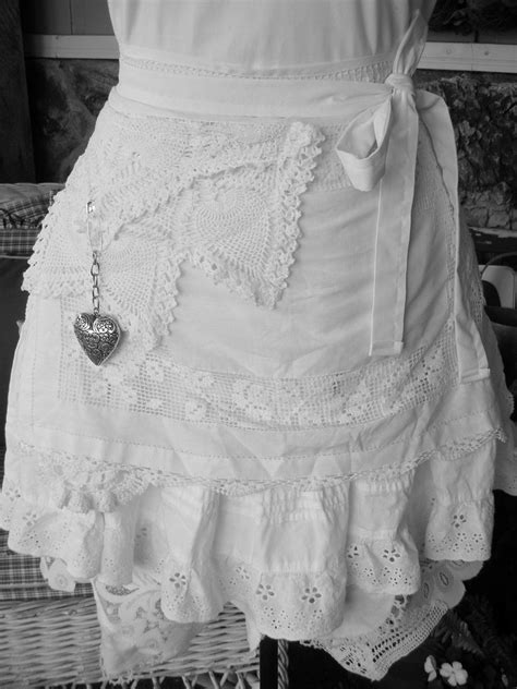 womens aprons wedding white lace aprons shabby chic